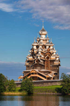 17th century wooden Church of the Transfiguration at Kizhi Pogost historical site on Kizhi Island, Lake Onega, listed as Site and one of the most popular tourist destinations in Republic of Karelia, Russia Editorial