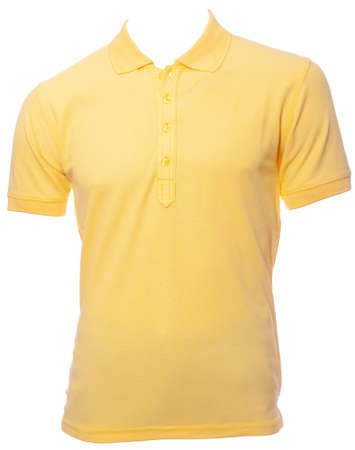 Yellow plain shortsleeve pique knit cotton polo shirt on a mannequin isolated on a white background Standard-Bild