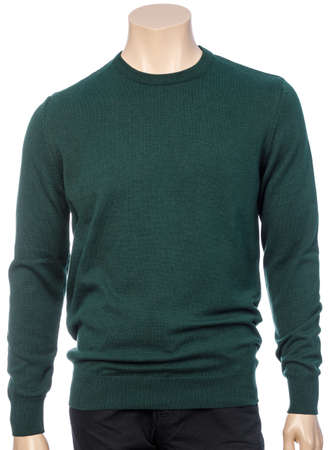 Green plain longtsleeve jersey on mannequin isolated on a white background 版權商用圖片