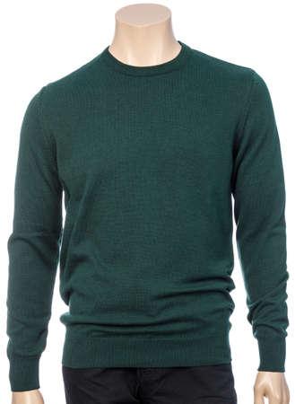 Green plain longtsleeve jersey on mannequin isolated on a white background Standard-Bild