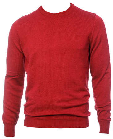 Red plain longtsleeve jersey template isolated on a white background