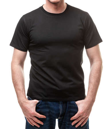 Young fit man wearing blank black shortsleeve cotton T-Shirt. Mock up template isolated on a white background