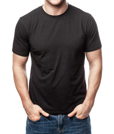Young fit man wearing blank black shortsleeve cotton T-Shirt. Mock up template isolated on a white background Banque d'images