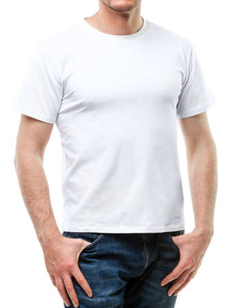 Young fit man wearing blank white shortsleeve cotton T-Shirt. Mock up template isolated on a white background Standard-Bild