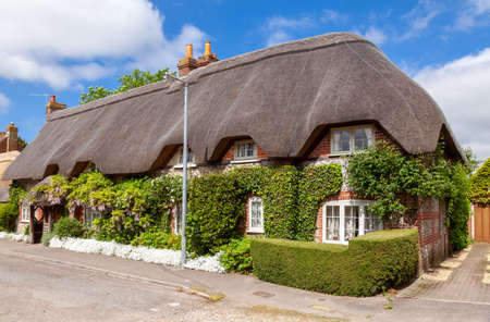 Street view of traditional english country thatched cottage decorated with plants and blooming flowers in rural Southern England UK Standard-Bild