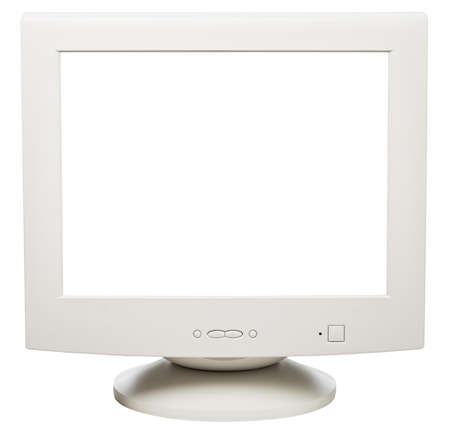 Obsolete CRT computer monitor with blank cun out screen isolated on white background