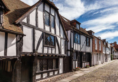 Old Tudor style timber-framed slate roof english houses in picturesque Rye town, a popular travel destination in East Sussex, England, UK