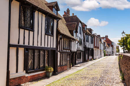Old timber-framed slate roof english houses in picturesque Rye town, a popular travel destination in East Sussex, England, UK