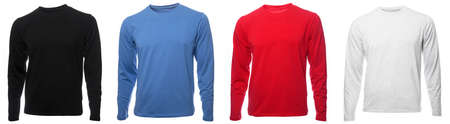 Black blue red and grey heathered plain long sleeved cotton shirt templates on hollow invisible mannequin isolated on a white background 版權商用圖片