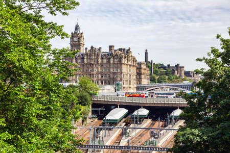 Edinburgh, UK - Aug 9, 2012: Waverley Train Station as seen from the Mound