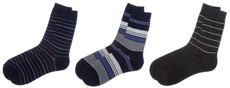 Three pairs of stripe cotton-blend socks of blue and grey colors isolated on a white background