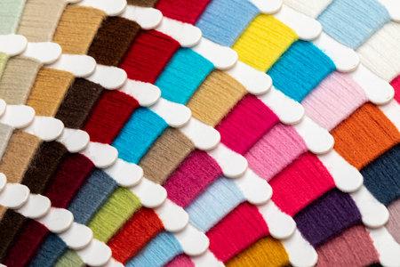 Color yarn thread sample swatches close-up 版權商用圖片