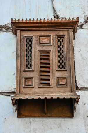 old designed wooden windows in historic village jeddah, saudi arabia