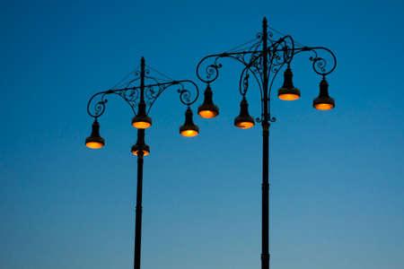 streetlights in blue sky background
