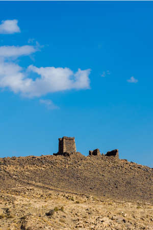 Ancient fortress on the hill with cloudy sky, Located in Banisad, Saudi arabia