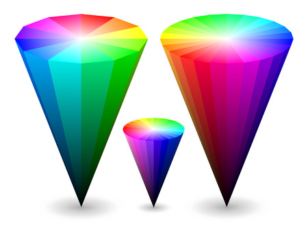 saturation:   color cones representing HSV (HSB) color space