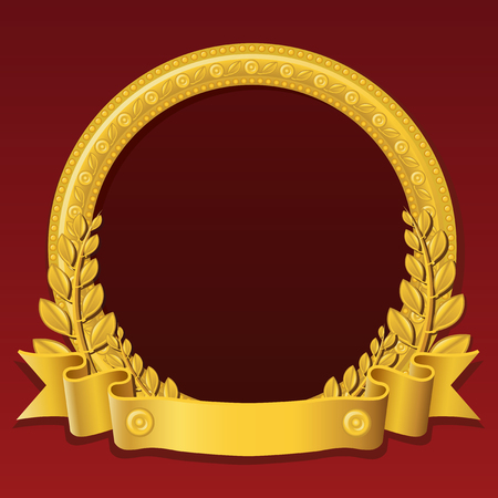 Round frame made of gold, decorated with different jewelry elements and golden ribbon Vector