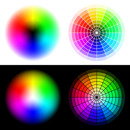 hsv:   colored wheels in HSV (HSB) color space. Created using gradient meshes and simple radial sectors Illustration