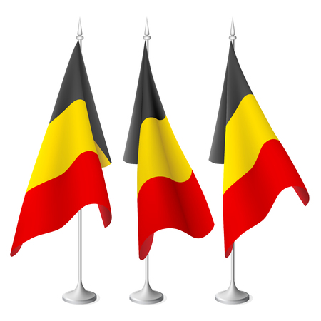 Belgium  flags with a metal stand. Created using gradient meshes Vector
