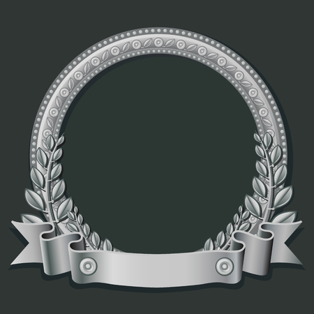 silver jewelry: Round frame made of silver, decorated with different jewelry elements and silver ribbon