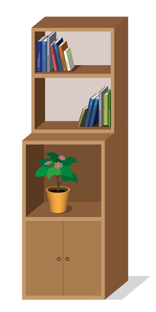 Cupboard with books and flower Illustration