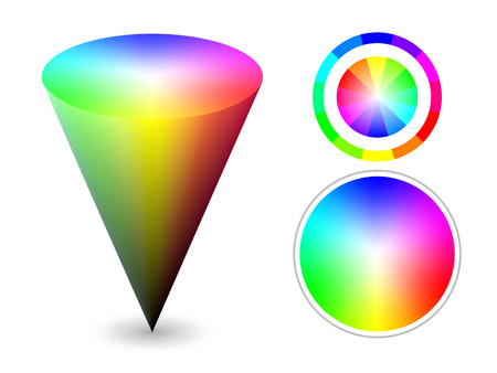 color cone and wheels representing HSV (HSB) color space. Created using gradient meshes. Vector