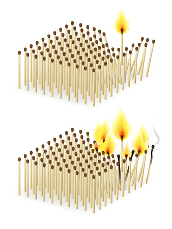 Crowd of burning matches