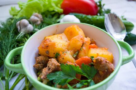 a plate of meat stew surrounded with vegetables. Natural and fresh food