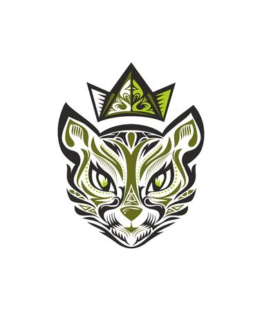 Vector drawing of the cats head in the crown, made lines and patterns. green image