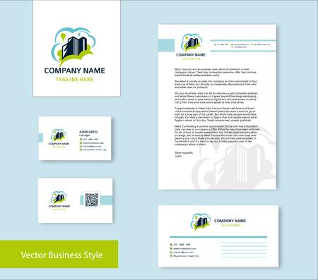 Branding Identity für Immobilienunternehmen in blauer und grüner Farbe