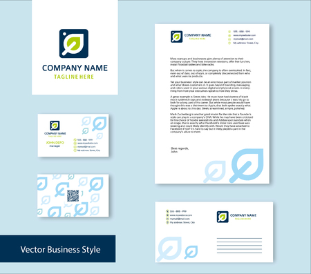 Branding Identity for laundry company in blue and green colour