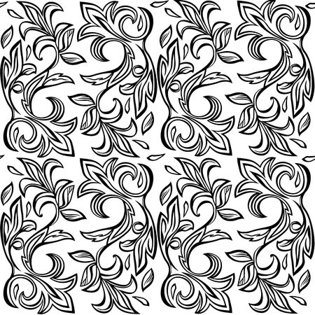 seamless floral pattern black and wight colours Vetores