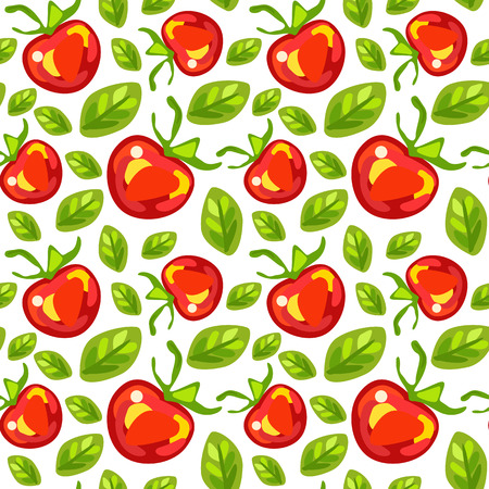 Seamless pattern of tomatoes with leaves on white backgroun Illustration