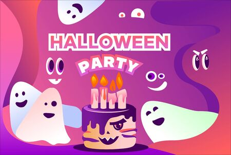 the Halloween party with cake and ghosts Illustration