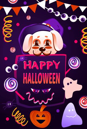 Happy Halloween cute poster with puppy in hat and different Halloween elements