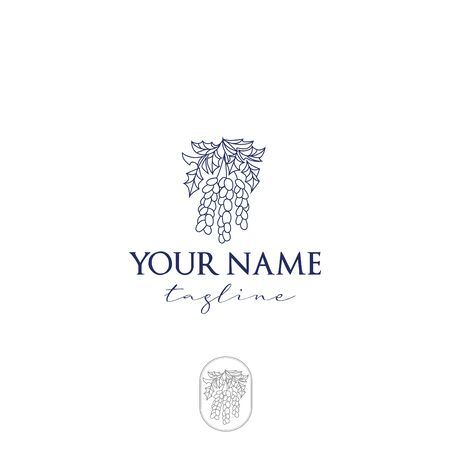 Logo bunch of grapes cosmetics fine lines, elegant