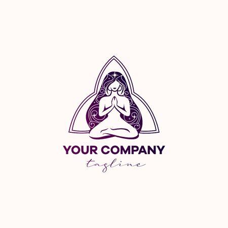 Logo yoga beautiful girl magic purple colors, long hair Ilustrace