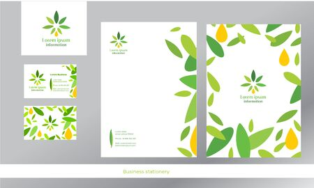 A signature style for a company associated with cannabis products. Green leaves, nature, organic. Illustration