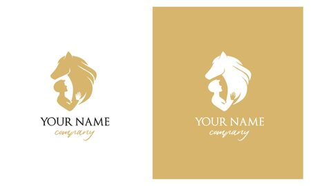 Logo for therapy with horses. Veterinary. Taking care of the horses. Logo