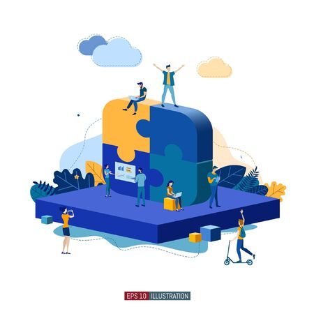 Trendy flat illustration. Teamwork metaphor concept. Cooperation of people who implement the joint idea. Template for your design works. Vector graphics.