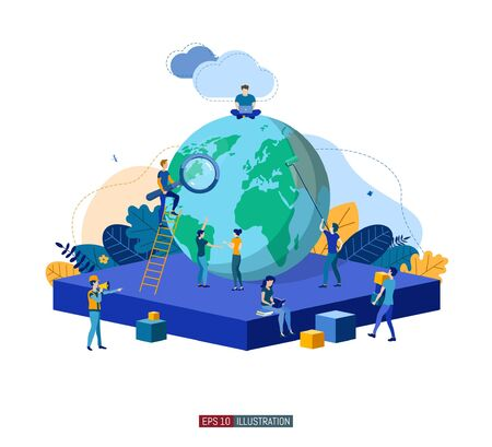 Trendy flat illustration. Teamwork metaphor concept. Globalization. Learning. Education. Knowledge. Training. Template for your design works. Vector graphics.