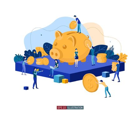 Trendy flat illustration. Banking service illustration concept. Deposit Piggy bank. Bank team. Bank operations. Money. Coins. Template for your design works. Vector graphics.