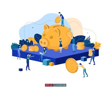 Trendy flat illustration. Banking service illustration concept. Deposit Piggy bank. Bank team. Bank operations. Money. Coins. Template for your design works. Vector graphics.
