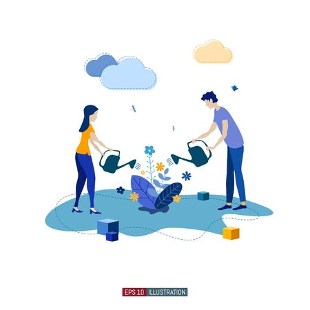 Trendy flat illustration. ?ooperation of people who implement the joint idea. Idea birth process. Boy and girl watering the flowers together. Template for your design works. Vector graphics.
