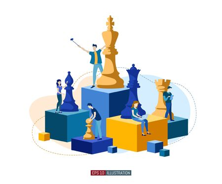 Trendy flat illustration. People work. Business strategy. Teamwork and competition. Chess game. Chess pieces. Template for your design works. Vector graphics. Illusztráció