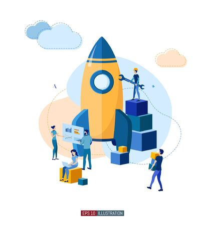 Trendy flat illustration. Business startup concept. ?ooperation of people who implement the joint idea. Rocket launch preparation. Template for your design works. Vector graphics. Ilustração