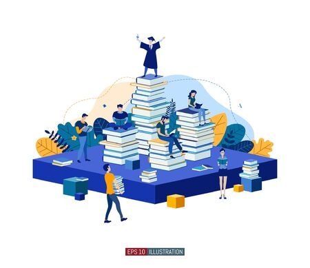 Trendy flat illustration. Teamwork metaphor concept. People read books and collaborate. Learning. Education. Knowledge. ?ollege graduate. Template for your design works. Vector graphics.