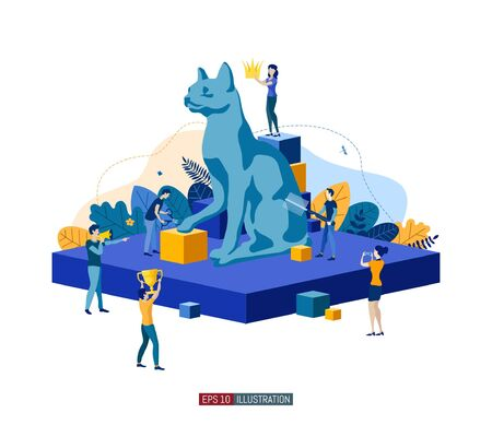 Trendy flat illustration. Cat day. Cat show. Cat care. Template for your design works. Vector graphics.