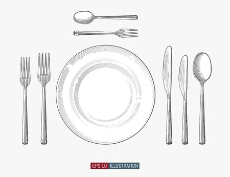 Hand drawn plate, fork, knife and spoon. Engraved style vector illustration. Elements for your design works.