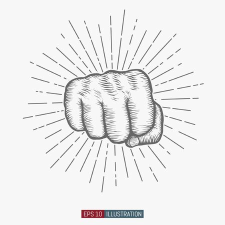 Hand drawn hand gesture. Fist. Linear vintage style sun rays background. Template for your design works. Engraved style vector illustration.